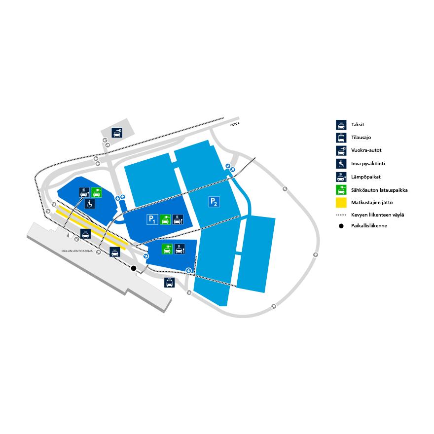 2019 | Finavia | Oulun lentoaseman pysäköintikartta